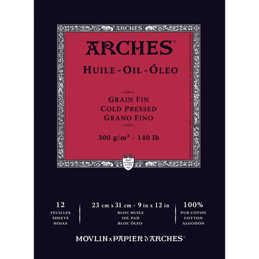 Arches® 9 in. x 12 in. Oil Pad - 140 lb., 12 sheets