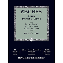 ARCHES® Drawing Pad - Extra-White - 9 in. x 12 in.