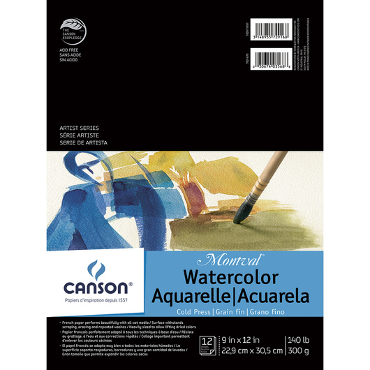 Canson® Montval® Watercolor Pad - 9 in. x 12 in. - 12 Sheets - 140 lb.
