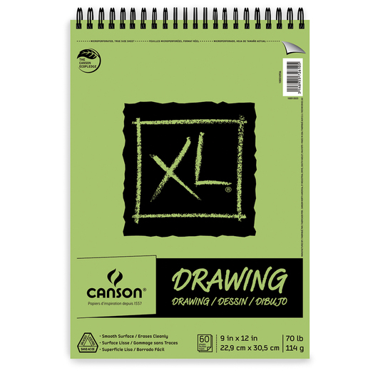 Canson® XL® Drawing Pads - 9 in. x 12 in. - 60 Sheets - Top Wire