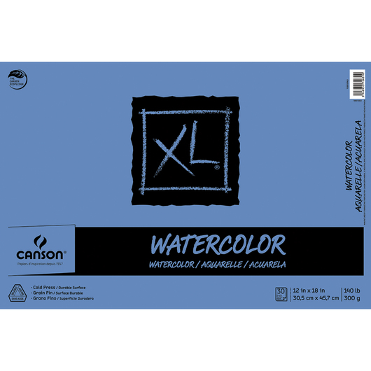 Canson® XL® Watercolor Pad - 12 in. x 18 in. - 30 Sheets - 140 lb.