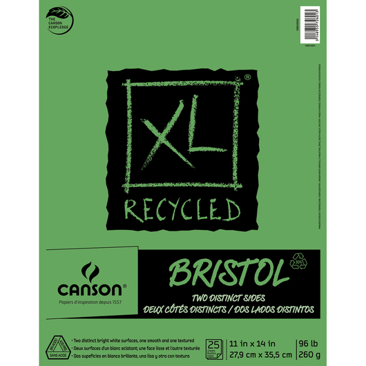Canson® XL Recycled Bristol Pad - 25 Sheets - 11 in. x 14 in. - 96 lb.