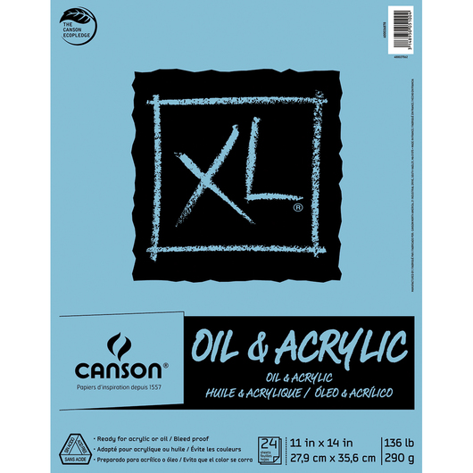 Canson® XL® Oil and Acrylic Pad - 11 in. x 14 in. - 24 Sheets - 136 lb.