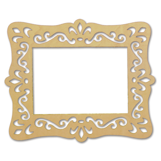 Unfinished Laser-Cut Rectangle Wood Frame