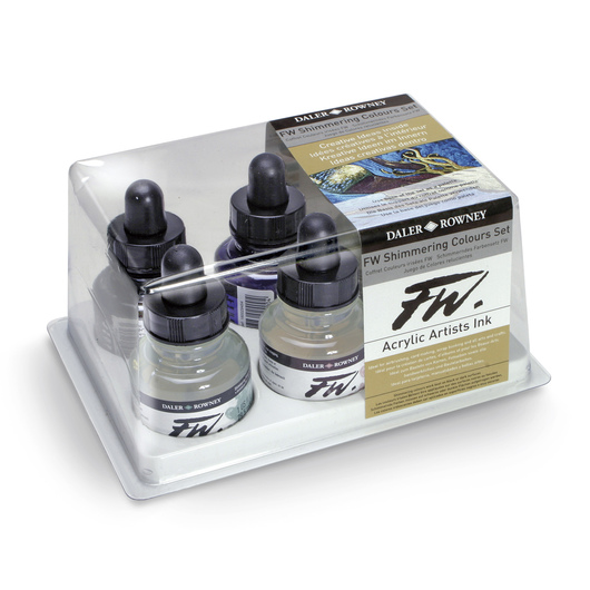 FW Liquid Acrylic Ink - Shimmering Colors - 1 oz. - Set of 6