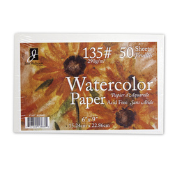 Jack Richeson® Studio Watercolor Paper - 50 Sheets - 6 in. x 9 in. - 135 lb.