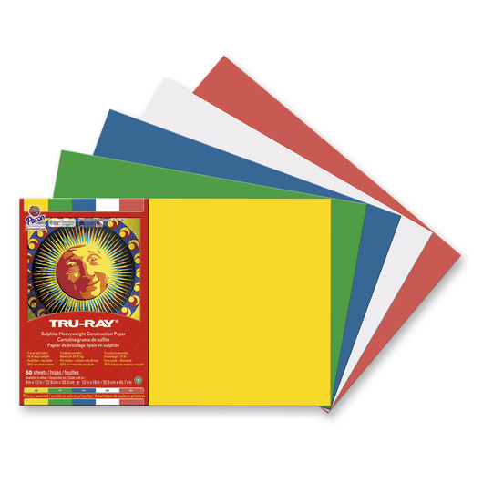 Pacon® Tru-Ray® Sulphite Construction Paper Primary Assortment - 76 lb. - 50 Sheets - 12 in. x 18 in.