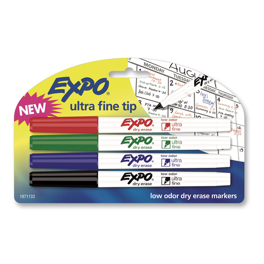 EXPO® Low-Odor Dry-Erase Markers - Set of 4 Basic Colors - Ultra-Fine Tip