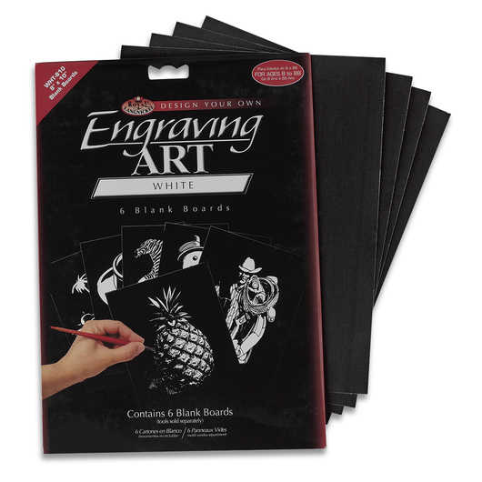 Royal Brush® White Engraving Art Boards - Set of 36 - 8 in. x 10 in.