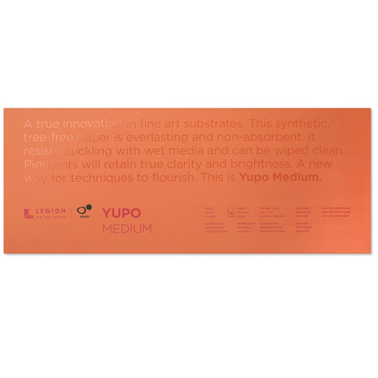 Yupo® Watercolor Paper Pad - White - 10 Sheets - 6 in. x 15 in. - 74 lb.