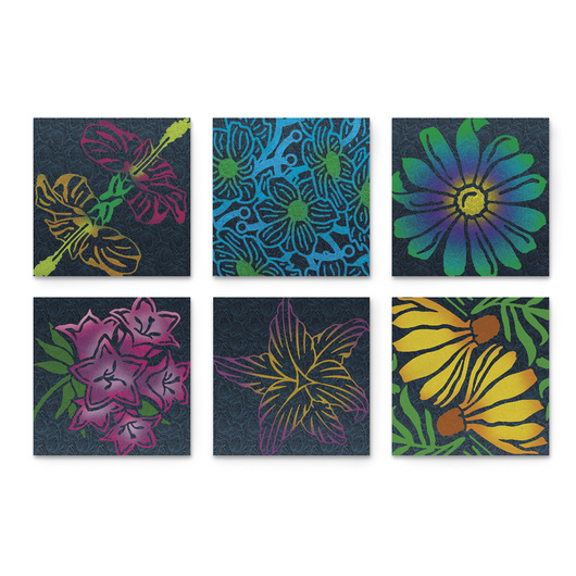 Rubbing Plates - Garden Flowers - Set of 6