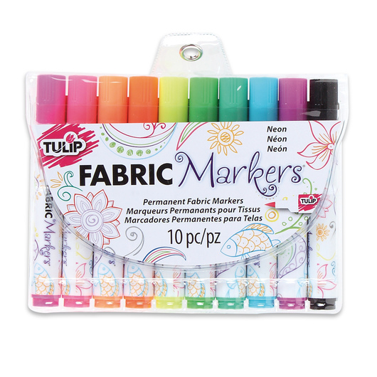 Tulip® Fabric Markers® Set of 10 Neon - Brush Tip