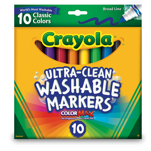 Crayola® Ultra-Clean Washable® Classic Color Markers - Broad-Line Set of 10