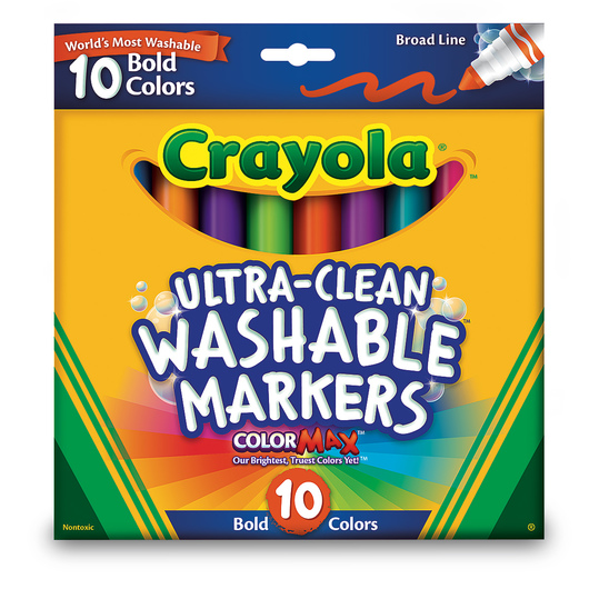 Crayola® Ultra-Clean Washable® Bold Color Markers - Conical-Tip Set #7832 - Set of 8