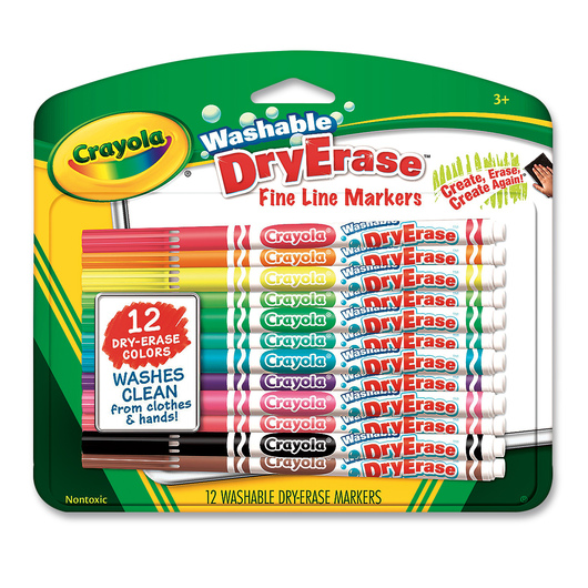 Crayola® Washable Dry-Erase Fine-Line Markers - Set of 12