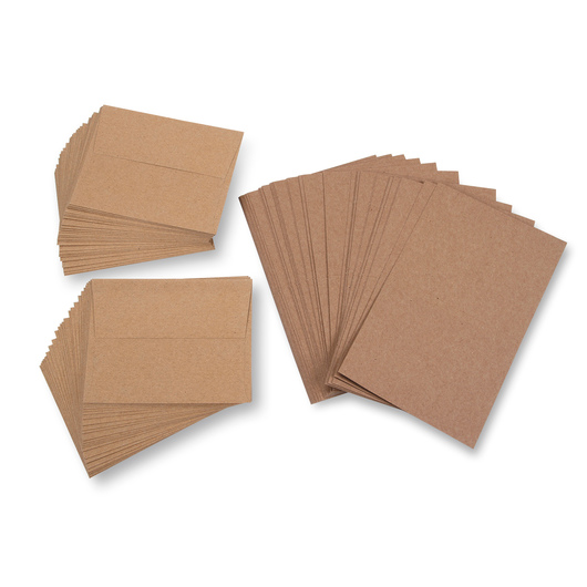 Blank Cards and Envelopes - Kraft - Pkg. of 50 Cards and Envelopes - 4-1/4 in. x 5-1/2 in.