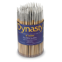 B-100WS Dynasty® Fine White Synthetic Round Assortment - 144 Brushes