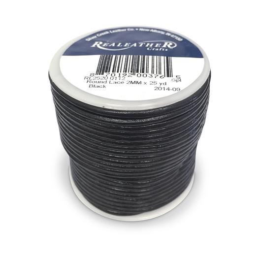 Round Lace - 2 mm x 25 yds. - Black