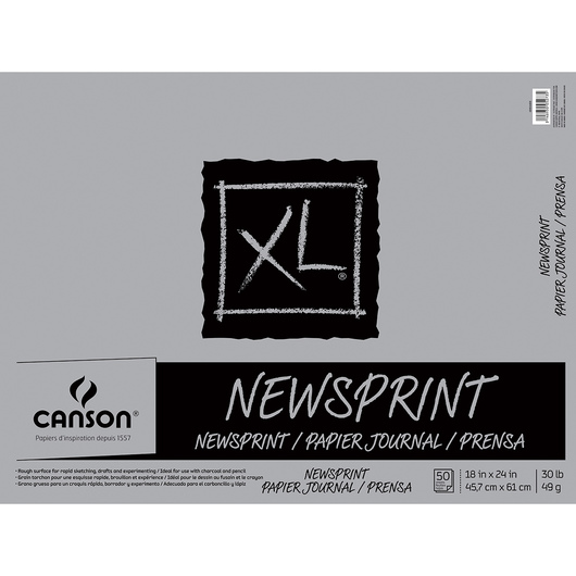 Canson® XL® Newsprint Pad - 18 in. x 24 in. - 50 sheets - 30 lbs. - Fold over binding