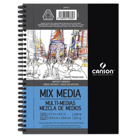 Canson® Artist Series Mixed Media Artist Book - 5-1/2 in. x 8-1/2 in. - 30 Sheets - 138 lb.