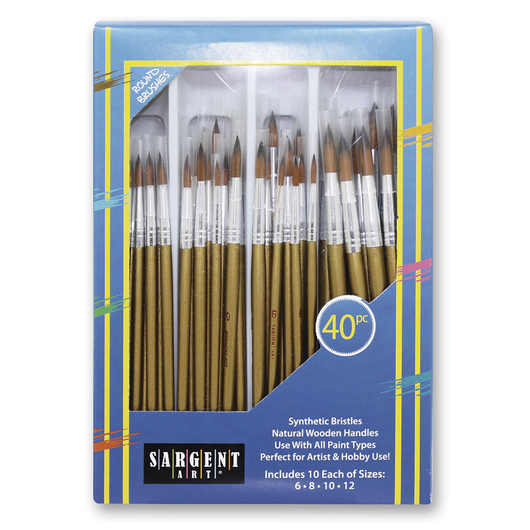 Sargent Art® Round Synthetic Brush Classroom Pack of 40