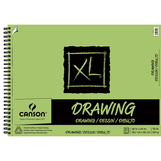 Canson® XL® Drawing Pads - 18 in. x 24 in. - 30 Sheets - Side Wire