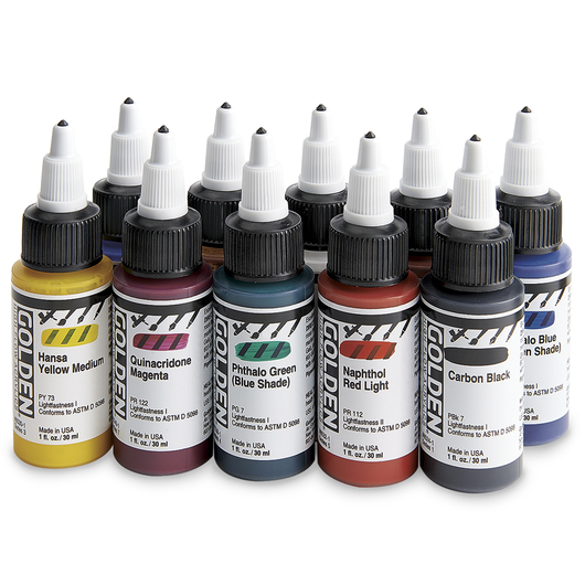 Golden® High-Flow Acrylics - 1 oz. (30 ml) Set of 10