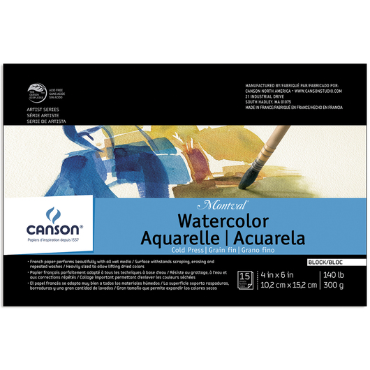 Canson® Montval® Watercolor Paper Block - 4 in. x 6 in. - 15 Sheets - 140 lb.