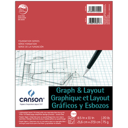 Canson® Foundation Graph and Layout Pad - 4 in. x 4 in. Grid - 8-1/2 in. x 11 in. - 40 sheets - 20 lb.