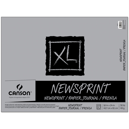 Canson® XL® Newsprint Pad - 18 in. x 24 in. - 100 sheets - 30 lbs. - Fold over binding