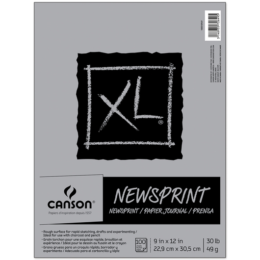 Canson® XL® Newsprint Pad - 9 in. x 12 in. - 100 sheets - 30 lbs. - Fold over binding