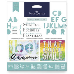 Faber-Castell® Mixed Media Stencils - Lettering - 6-1/2 in. x 6-1/2 in. - Set of 10