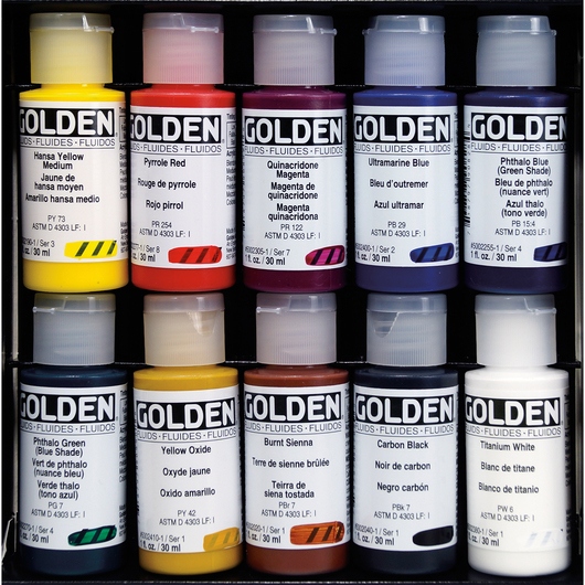 Golden® Fluid Acrylics - 1-oz. (30 ml) Bottles - Set of 10 Colors
