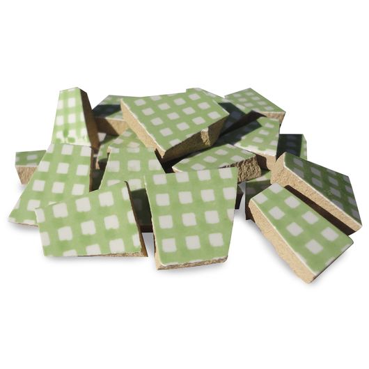 Crafter's Cut™ Precut Ceramic Prints Mosaic Tiles - Gingham - 1 lb. - Green
