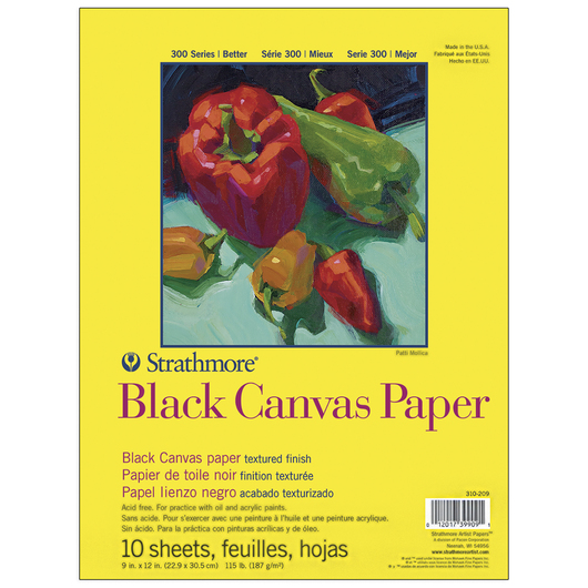 Strathmore® Black Canvas Paper - 10 Sheets - 115 lb. 9 in. x 12 in.