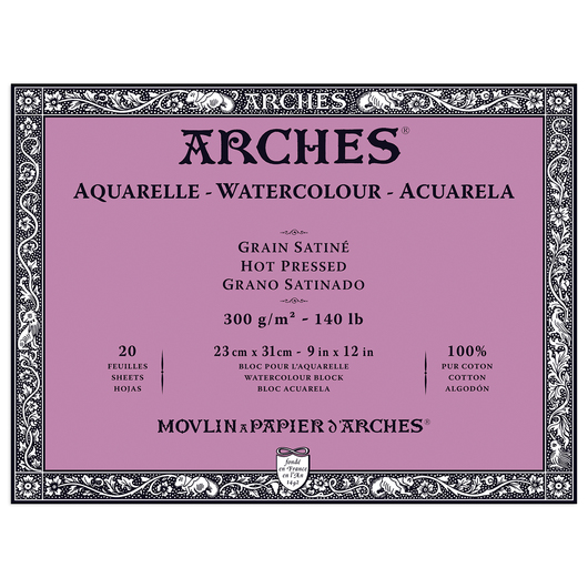 ARCHES® Aquarelle Watercolor Block - 9 in. x 12 in. Hot Press 140 lb. Paper - 20 Sheets