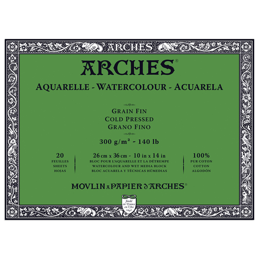ARCHES® Aquarelle Watercolor Block - 10 in. x 14 in. Cold Press 140 lb. Paper - 20 Sheets