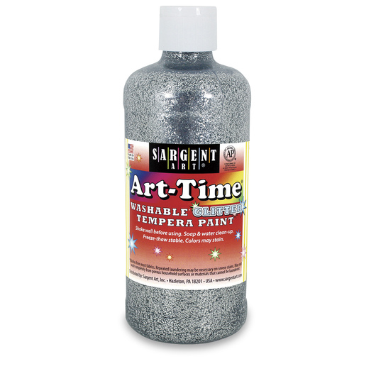 Sargent Art® Art-Time® Washable Glitter Paint - Pint - Silver