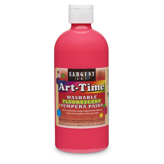 Sargent Art® Art-Time® Washable Fluorescent Tempera Paint - 16-oz. Bottle - Pink