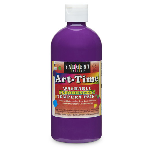 Sargent Art® Art-Time® Washable Fluorescent Tempera Paint - 16-oz. Bottle - Violet