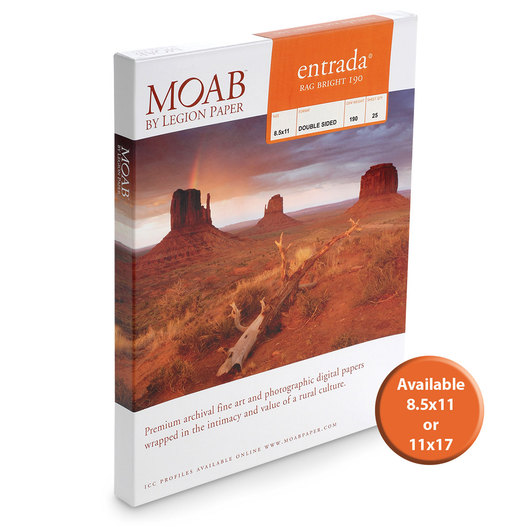 MOAB™ Entrada Rag Paper - 190 gsm - 11 in. x 17 in. - Pkg. of 25 Sheets