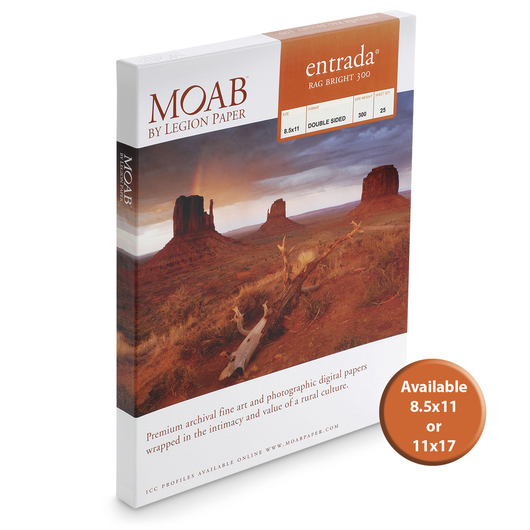 MOAB™ Entrada Rag Paper - 300 gsm Bright - 8-1/2 in. x 11 in. - Pkg. of 25 Sheets