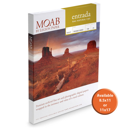 MOAB™ Entrada Rag Paper - 190 gsm Natural - 11 in. x 17 in. - Pkg. of 25 Sheets