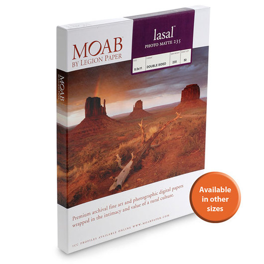 MOAB™ Lasal Photo Matte Paper - 235 gsm - 8-1/2 in. x 11 in. - Pkg. of 50 Sheets