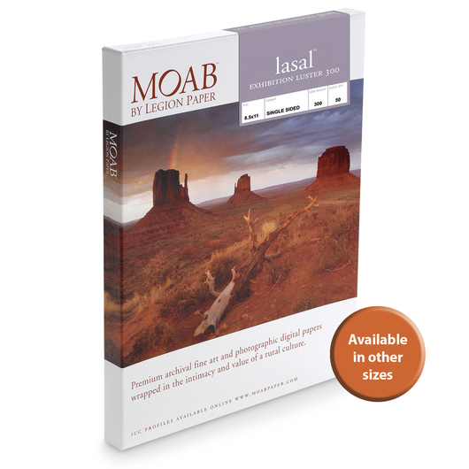 MOAB™ Lasal Exhibition Luster Paper - 300 gsm - 5 in. x 7 in. - Pkg. of 50 Sheets