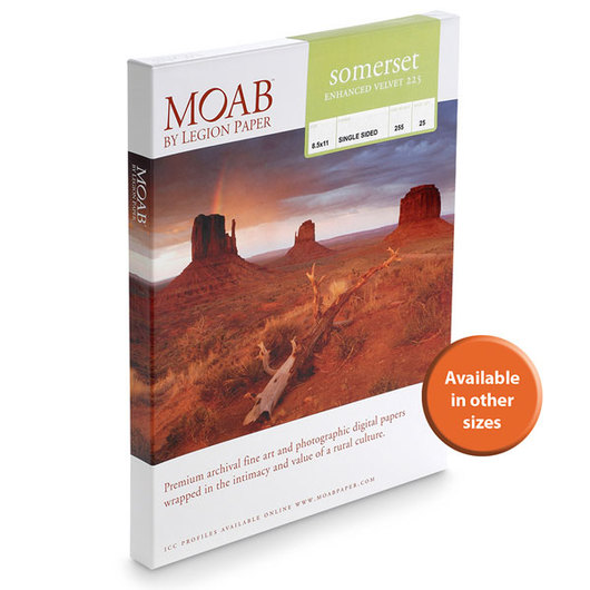 MOAB™ Somerset Enhanced Velvet Paper - 225 gsm - 11 in. x 17 in. - Pkg. of 25