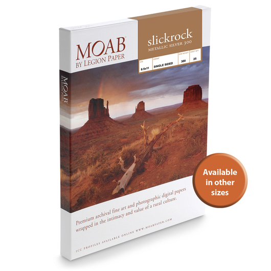MOAB™ Slickrock Metallic Silver 300 Paper - 300 gsm  - 5 in. x 7 in. - Pkg. of 50