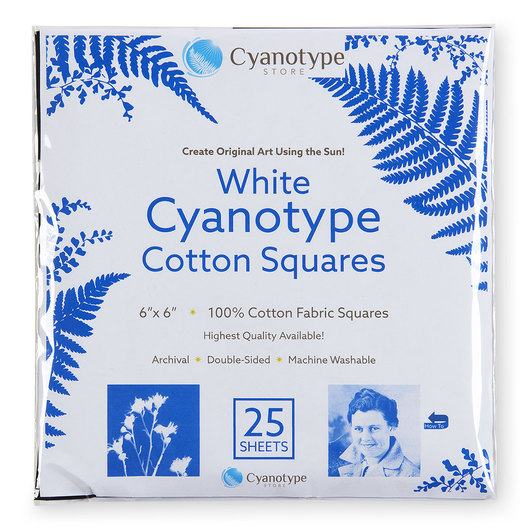 Cyanotype Cotton Squares - White