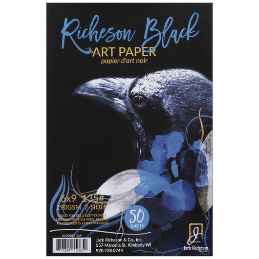 Jack Richeson® Black Art Paper - 135 lb. - 50 Sheets - 6 in. x 9 in.
