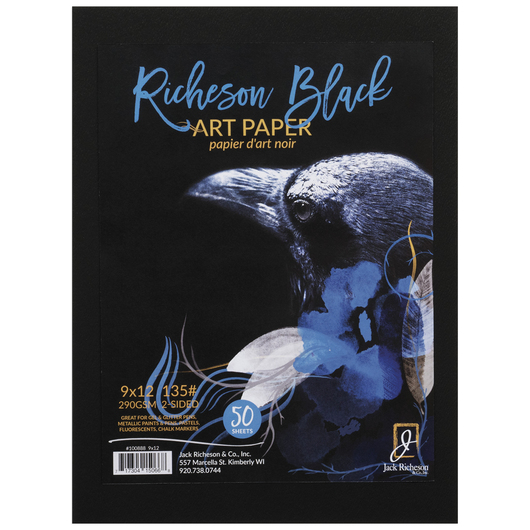 Jack Richeson® Black Art Paper - 135 lb. - 50 Sheets - 9 in. x 12 in.